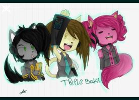 team crazy: triple baka :collab: by Zombiezul