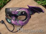 Purple Teal Dragon Mask by merimask