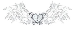 overdone tattoo wings n heart by tourderexdale