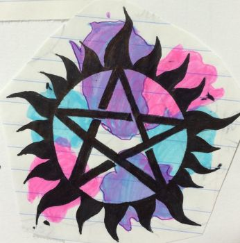 Watercolor Anti-possession tattoo by ellie-pooh