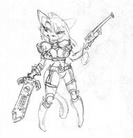 Cat with Gun by Equussapiens
