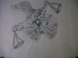 angel and scales tattoo design by tattoosuzette