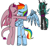 PSYCHO PIE KISSING SPECTRUM DASH WHILE HEART SMILE by DEVIOUS-DISCORD-RP