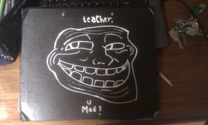 troll face on my skool stuff lol by DexsterTheWolf