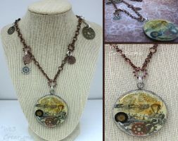 Steam Punk Machine and Gears Necklace by kelleejm1