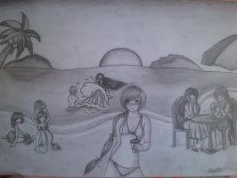 Pencil drawing for the Mirage Noir summer contest by Darkynere