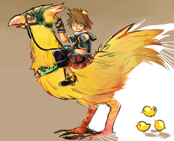 Sora and the Chocobo by Natural-Gas