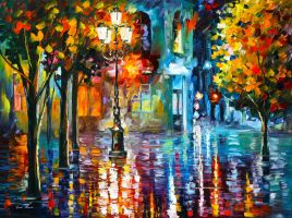 Old Streets by Leonid Afremov by Leonidafremov