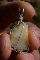 Ethiopian Opal Raw Pendant by lamorth-the-seeker