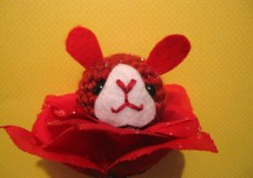 Amigurumi Red Bunny Flower by AmiTownCreatures