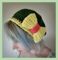 Dark Green Beret Hat With Yellow Bow by Ashler-Sauce