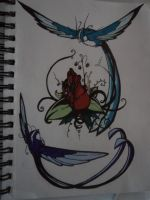 The Rose and The Birds (with color) by Valty77