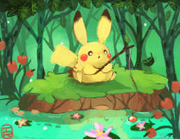 Fishing Pika by Teatime-Rabbit