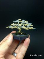 Mame  gold silver wire bonsai tree by Ken To by KenToArt