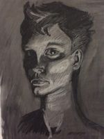 Life Drawing Assignment - Self Portrait by kas107