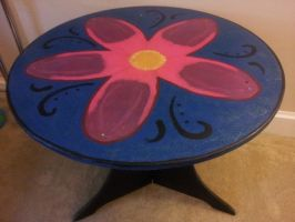 hand painted round wood table by halogirlie