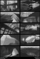 Enviro Design B+W Sketches by paper-hero