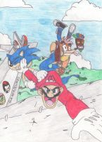 Mario, Sonic and Crash by OudieTH