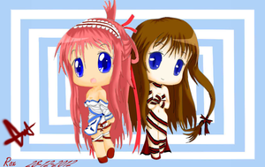 Chibi Lily Asuka And Aria dewi(Banishing Front) by Roxasdeath