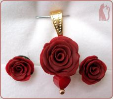 Polymer Clay Red Roses Set by Talty