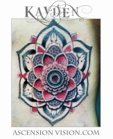 Geometric dotwork flower rib tattoo by kayden7