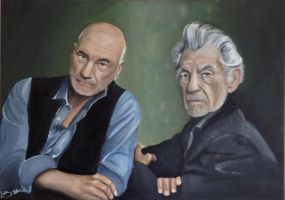 Sir Patrick Stewart and Sir Ian McKellen by Bee-Minor