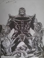 thanos vs avengers by artkid01