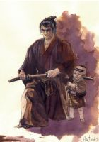 Lone wolf and cub by Artigas