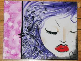 Purple Curls, Red lips. by kidwithscissors
