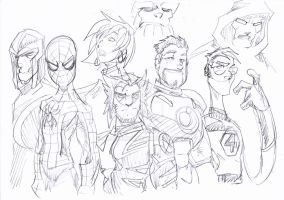 Marvel heroes Sketch by NachoMon