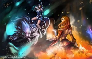 A fight between Mirana and Lina - Dota 2 fanart by Azaggon