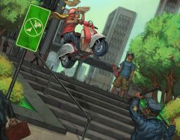 moped in the city by b-nine