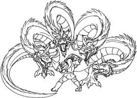 Link vs. Four Headed Gleeok by Scatha-the-Worm