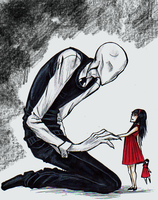 TeenSlenderman and little Scarlet doodle by Cageyshick05