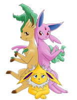 Eeveelution Trio by Apricotil