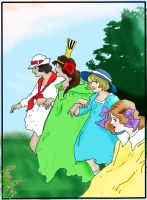 Trot, Ozma, Dorothy and Betsy by saintfighteraqua