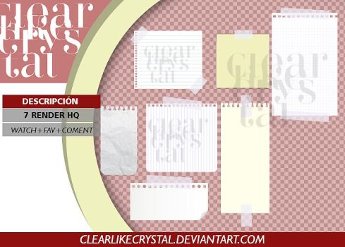 PACK PNG | NOTAS | HOJAS DE PAPEL by clearlikecrystal