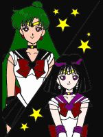 Sailor Pluto and Sailor Saturn by XNekoXMika