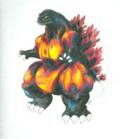 Burning Godzilla colored by Amwuensch