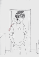 HS - A young man stands in his bedroom. by borearisu