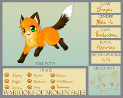WoBS: Foxpaw of Thunderclan (Updated app) by Eeveelutions95