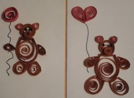 Teddy Bears Quilled. by crochetamommy