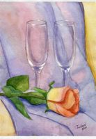 Rose and glassware by TaileenDenvers