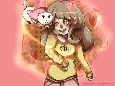 A girl and her special  cat. by magictrash
