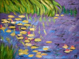 WATERLILIES MORNING AFTER MONET by sugawrench
