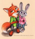 Nick and Judy (Zootopia fanart) by Akadio