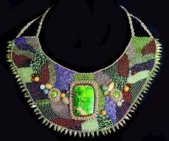 Green Bead Embroidered Collar/Necklace by sueswinyard