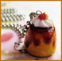 Flan with Cream Necklace by cherryboop