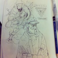 Sketchbook page with soldier and viking by cromArt