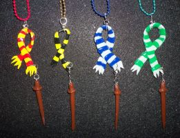 Harry Potter Hogwarts Houses Scarves with Wands by TashaAkaTachi